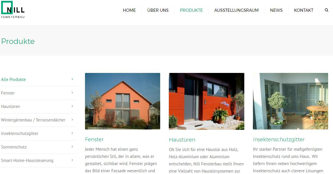 Website von Fensterbau Nill